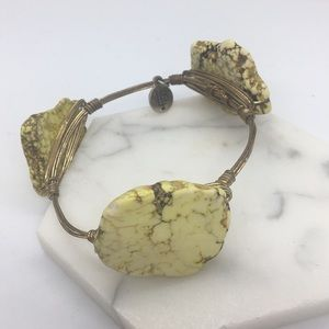 BB Yellow Jasper Slab Wire Bracelet